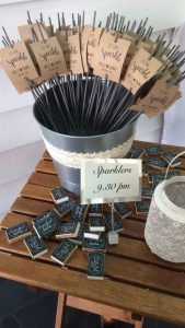 sparklers in metal bucket for wedding send off