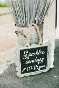 silver bucket holding 20 inch long sparklers announcing wedding send off time
