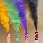 long lasting orange, black, green and purple smoke for Halloween pictures