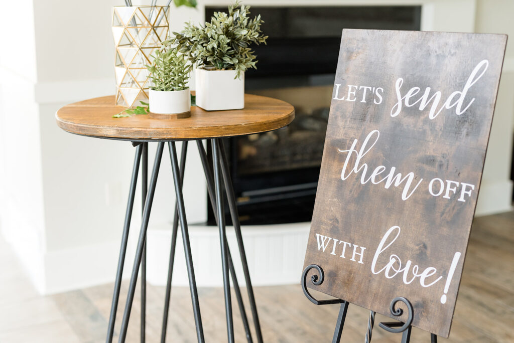 20 inch sparklers displayed on table with send off sign